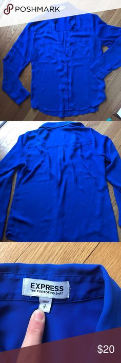 Express portifino blouse in royal blue The perfect royal blue Express portifino blouse! Gorgeous color, machine washed gentile. Small unnoticeable snag on the back Express Tops Button Down Shirts
