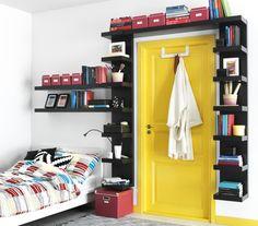 Bookshelf Door - Interior Design Ideas for Small Spaces & Flats… Bookshelf Door, Bookshelves Built In, Bookshelf Ideas, Bookshelf Design, Bookcases, Barrister Bookcase, Wall Shelf Unit, Wall Shelves, Shelf Units