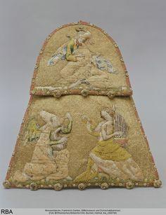 Almosentasche Frankreich um 1346/1355 TascheTextilkunst Leinen Goldfaden Seide…