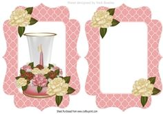 Pretty ornament candle in glass holder with cream roses card front insert on Craftsuprint - View Now!