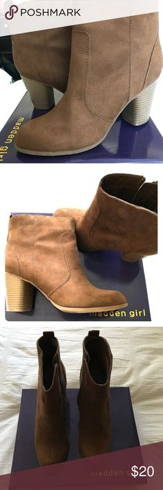 Madden Girl booties Side-zip closure. Round-toe. Detailed stitching. Soft fabric lining. Lightly padded footbed. Durable synthetic and fabric outsole. Stacked heel. Only worn once. Madden Girl Shoes Ankle Boots & Booties
