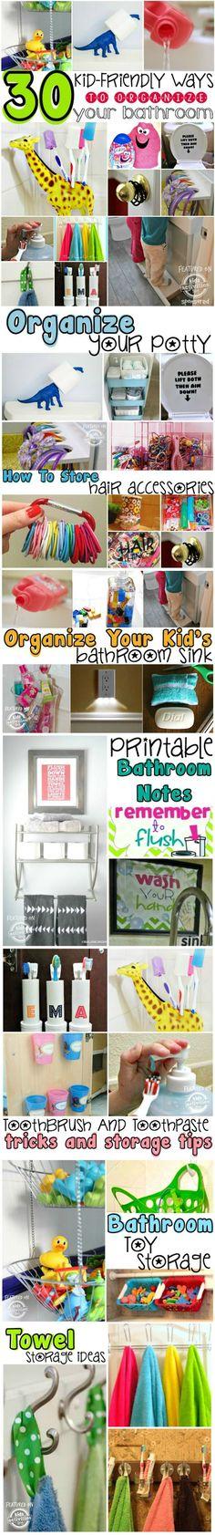 Kid-Friendly Ways To Organize A Bathroom Organization ideas – So many awesome ways to organize a bathroom just for kids! Kids Bathroom Organization, Bathroom Kids, Bathroom Storage, Organization Hacks, Bathroom Bath, Kmart Bathroom, 1920s Bathroom, Paris Bathroom, Ocean Bathroom