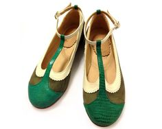 1691bb2ca Quiero June Flat leather green shoes Zapatos Planos
