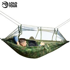 $ - Awesome Ultralight Outdoor Camping Hunting Mosquito Net Parachute Hammock 2 Person Flyknit Hamaca Garden Hamak Hanging Bed Leisure Hamac - Buy it Now!