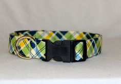 Blue and Green Plaid Dog Collar- All Sizes - Blue and Green dog collar