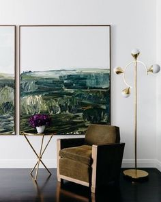 diptych paintings that bring earthy tones to the space