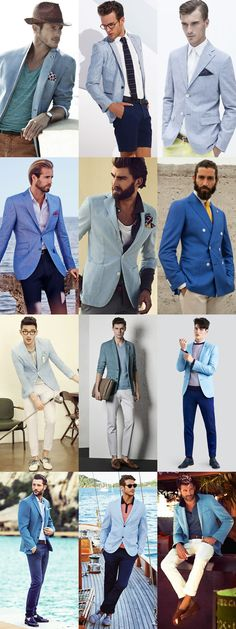 Men's Blue Blazers Spring/Summer Outfit Inspiration Lookbook