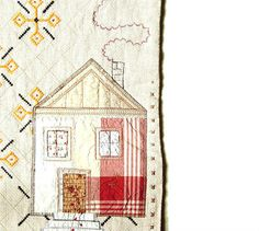 RUSTIC HOUSE, Textile Art, Home Decor, Art Quilt,  Wall Hanging, Wall Art, applique house, burgundy white
