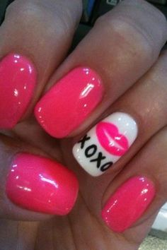 Sweet and Cutest Glossy Pink Nail Art Design with Cute Kiss Decals