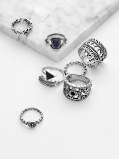 df0997d30ccc Gemstone Embellished Hollow Ring Set 7pcs