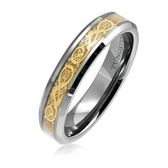 Tungsten Ring Direct - Tungsten Ring for Women, Fashion Wedding Band with Golden Dragon Inlaid, 6MM, $24.99 (http://www.tungstenringdirect.com/tungsten-ring-for-women-fashion-wedding-band-with-golden-dragon-inlaid-6mm/)