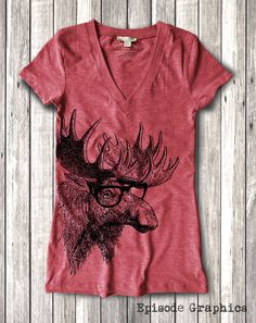 Moose graphic Print Women's Fitted V-Neck by EpisodeGraphics