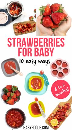 Learn how to prepare strawberries for baby in 10 delicious and easy ways! As yummy superfoods, strawberries are a great first food for babies 4-6 months and up. Serve them as a baby food puree, as a solid for the finger food stage, or for baby-led weaning. Strawberry Baby, Strawberry Oatmeal, Strawberry Puree, Baby Food Guide, Baby Food Recipes Stage 1, Roasted Strawberries, Frozen Strawberries, Baby Puree Recipes, Pureed Food Recipes