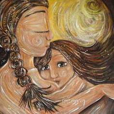 mother and child breastfeeding toddler yellow art by kmberggren, $29.00