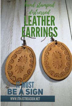 HAND STAMPED LEATHER EARRINGS-OVAL Leather Ring, Leather Earrings, Diy Earrings, Leather Tooling, Leather Jewelry, Leather And Lace, Tooled Leather, Leather Bracelets, Leather Projects