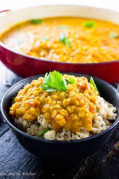 Golden Yellow Lentil Dal with Curry - This easy and delicious yellow lentil dal is full of protein and bright flavors! It's great on its own or served over fragrant Basmati rice for a quick and healthy mid-week meal! Vegan Lentil Recipes, Vegetarian Recipes, Healthy Recipes, Vegan Food, Healthy Eats, Delicious Recipes, Healthy Fiber, Chilli Recipes, Tasty
