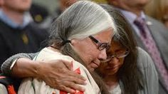 Residential school survivor Lorna Standingready is comforted by a fellow survivor in the audience during the closing ceremony of the Indian Residential Schools Truth and Reconciliation Commission, at Rideau Hall, June Residential Schools Canada, Indian Residential Schools, Aboriginal Children, Canadian Culture, Photo Essay, First Nations, Bbc News, Destruction, Social Studies