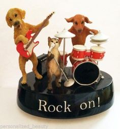 New Animal Antics Dogs Cat Band Friends Collection Rock on Music Tune Figurine | eBay