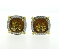 Charles Krypell Sterling Silver 14k Gold Cognac Quartz Diamond Earrings Featured in our upcoming auction on July 26!