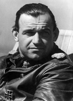 Wing Commander of Jagdgeschwader 3 Major Heinz Bär photographed in May 1944 is seen here with the Knight's Cross with Oak Leaves and Swords which was awarded in February 1942 for 90 aerial victories. Bär fought on every German front throughout World War II in Europe and Africa and is credited with 221 aerial victories.