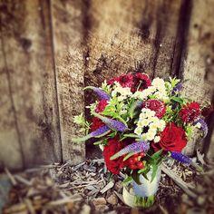 Veronica, Hypericum Berry, Roses, Scabiosa and white wildflowers!  #Breckenridge #florist #wedding #bouquet #bride #colorado #rockymountains