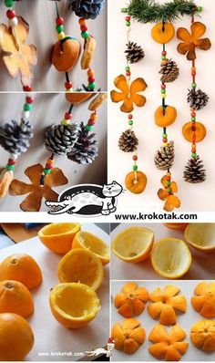 Dried orange peel and little pinecone garland for fall equinox Here is another Christmas ideas .Use orange peel to make some fabulous Christmas decorations . Such as orange peel rose centerpiece, hanging Noel Christmas, Diy Christmas Ornaments, Homemade Christmas, Winter Christmas, Fall Crafts, Holiday Crafts, Diy And Crafts, Crafts For Kids, Christmas Decorations