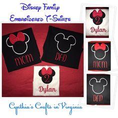 Personalized Embroidered Disney T-Shirts Starting at $23 each  #disney #disneygram #mickeymouse #disneytshirt #personalized #dcl #disneycruise #familyreuniontshirts #cynthiascraftsinvirginia