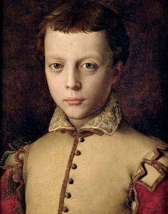 Angelo Bronzino, Angelo di Cosimo di Mariano (1503-1572) —  Portrait of Ferdinando I de' Medici as a Child, c.1560    :   Museo Nazionale di Palazzo Mansi, Lucca.  Italy  (707x900)