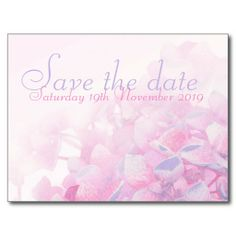 Save the date wedding hydrangea purple pink card post card