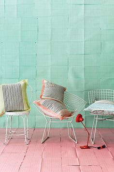 stitched striped cushions @ anthropologie