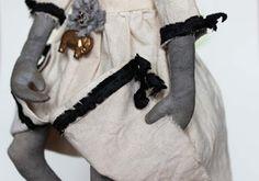 Fil À Sophie my first primitive folk art doll prims pumpkin head harvest cottage style vintage inspired prim doll