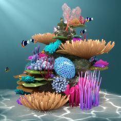 Coral Art, 3d Modelle, Sea Art, Ocean Creatures, Fish Art, Ocean Life, Under The Sea, The Little Mermaid, Painted Rocks
