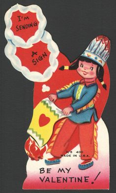 Vintage Childs Valentines Day Card Indian Chief Sending Smoke Signals Unused | eBay