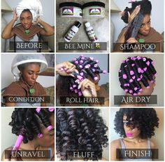 Steps to do on wash day with perm rods, curls on natural hair Natural Hair Journey, Natural Hair Tips, Natural Curls, Natural Hair Styles, Going Natural, Perm Rod Set, Roll Hairstyle, Pelo Afro, Pelo Natural
