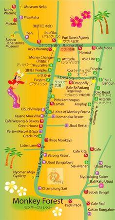 バリ島の地図 ウブド中心