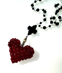 Swarovski Siam Red Grand Heart and Onyx Cross Necklace with Beaded Chain