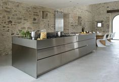 Casa Olivi Old Italian House with Modern Minimalist Interiors : Simple Kitchen Made Of Stainless Steel