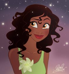 Tiana Hair Down.  Tiana reminds me of Belle sometimes with that hair in her face