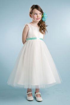 Ivory/Mint+Lace+Sleeve+Dress+With+Tulle+Skirt+Flower+Girl+Dress+PA-213-IM+on+www.GirlsDressLine.Com