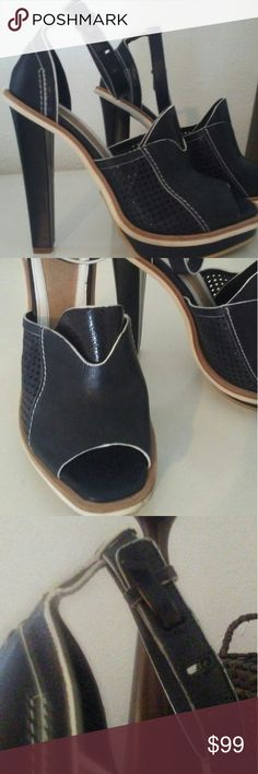 """Rag & Bone black leather ankle strap heels 9.5 Beautiful black leather tall heels made in Italy  unique and cool design. Peek A Boo Toe heel is about. 5""""  sorry no trades rag & bone Shoes Heels"""
