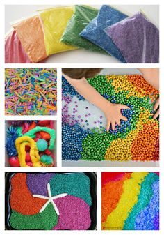 Rainbow sensory play with dry sensory play materials, better for children who don't like to get their hands too messy