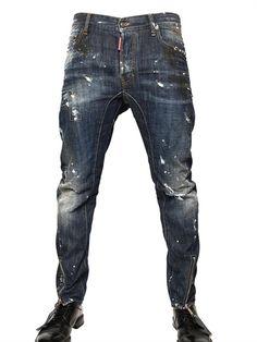 Painted Denim Biker Jeans www. Biker Jeans, Jeans Pants, Denim Jeans, Trousers, Rocker Look, Mens Trends, Best Jeans, Vintage Denim, Jeans Style