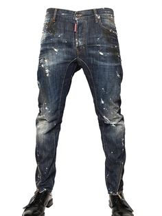 DSQUARED - 17CM PAINTED DENIM BIKER JEANS - LUISAVIAROMA - LUXURY SHOPPING WORLDWIDE SHIPPING - FLORENCE