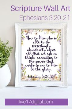 "This print from Ephesians reminds us ""to Him be the glory."" This beautiful purple floral watercolor wall art is a great addition to any Christian home. Printable Bible Verses, Printable Wall Art, Watercolor Walls, Floral Watercolor, Wooden Wall Art, Metal Wall Art, Scripture Wall Art, Christian Gifts, Ephesians 3"