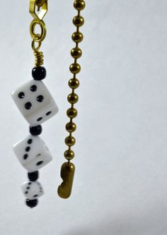 Lucky Dice Pull Chain in White by WhimsicusFestivus on Etsy
