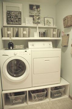 Very Small Spaces Laundry Room Design With Plastic Basket Storage Under Washing Machine And Wall Mounted Furniture Shelf