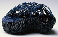 Black and Blue, basket by Charlotte Thorp via Contemporary Basketry. Handspun paper spokes, waxed line thread, leather cord