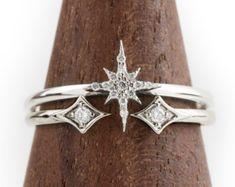 be5a539eef2e Conjunto de anillo anillo de diamantes de cluster por EnveroJewelry  Imágenes De Anillo
