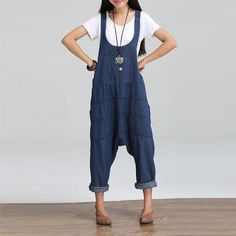 81f0eed5ba8 Women Jumpsuits Celmia Summer Retro Denim Rompers Casual Sleeveless  Backless Pockets Loose Harlan Playsuits Plus Size Overalls