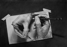 Pencil Drawing. Tribute to M.C Escher
